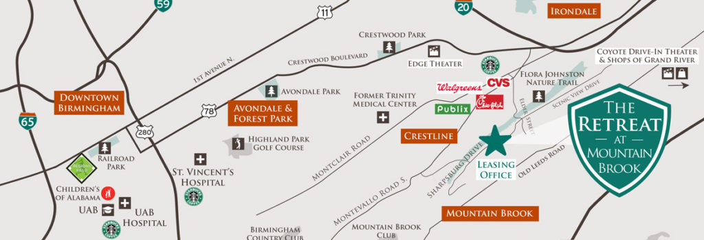 Retreat At Mountain Brook map